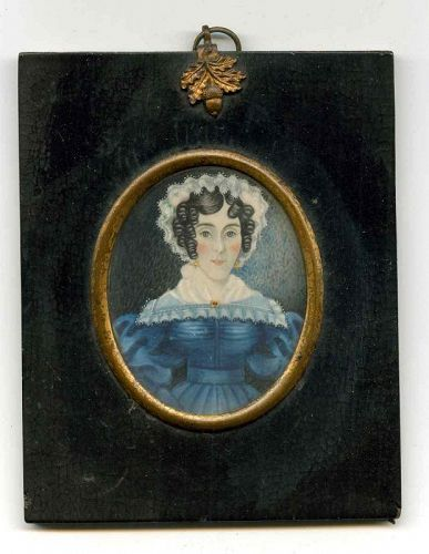 A Folksy American Miniature Portrait of a Young Woman c1820