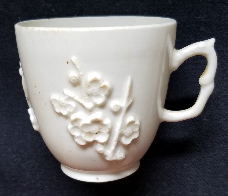 Early Bow Porcelain Blanc de Chine Coffee Cup c1752-1755