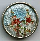 A Fine Gin-Bari Cloisonne Button of Cherry Blossoms 19th c