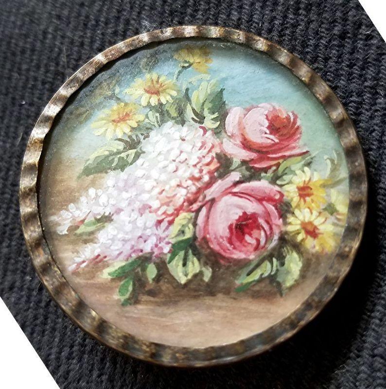 18th C Button, Oil on Copper Still Life