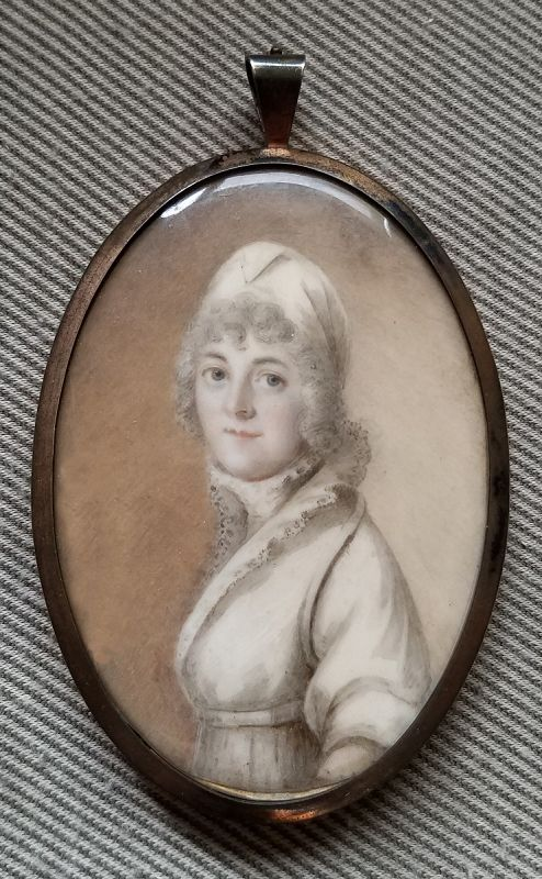 English Miniature Portrait of a Woman c1790