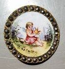 Painted Enamel Cupid Button c1875