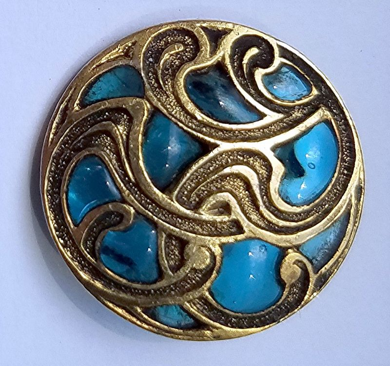 A Beautiful Plique-a-Jour Button c1900