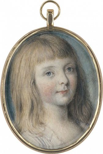 Miniature Portrait of Young Girl c1790