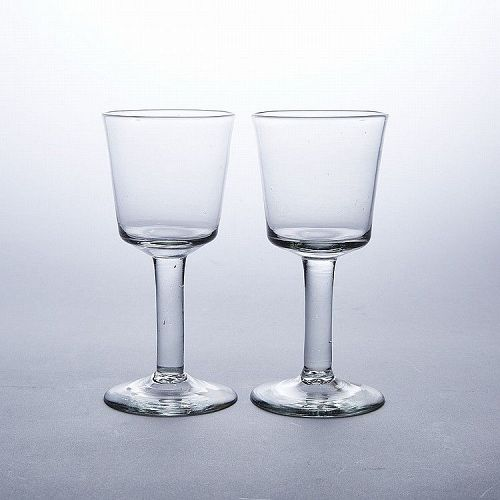 A Pair of Huge Antique English Wine Glasses c1740