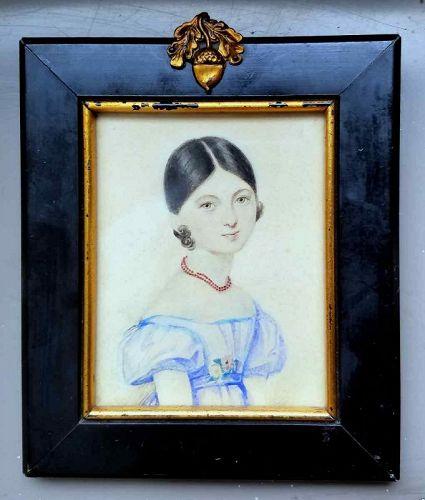 Portrait Miniature of Beautiful Girl c1805