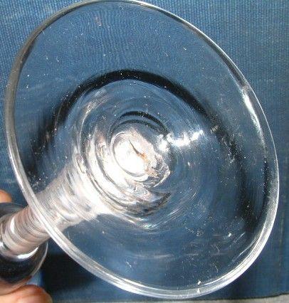 A Tall English Georgian Opaque Twist Wine Glass c1765