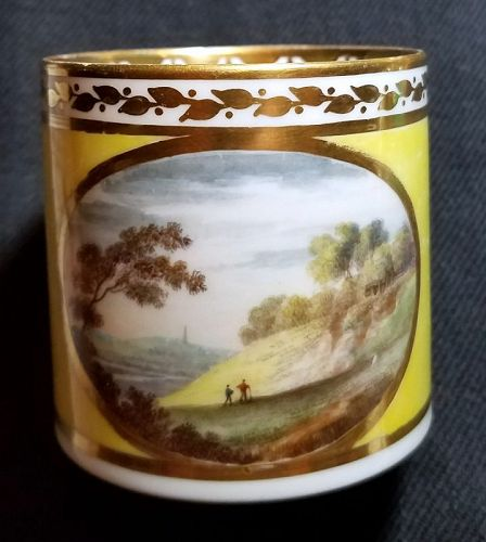 A Superb Derby Porcelain Scenic Coffee Can c1786