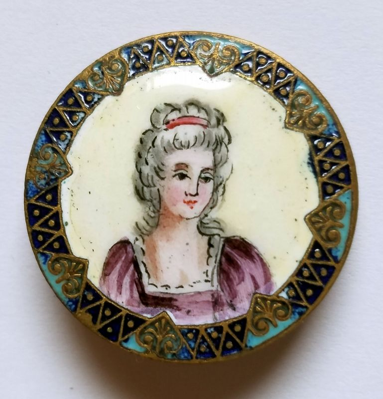 A Fine French Emaux Peints and Champleve Button 19th Century