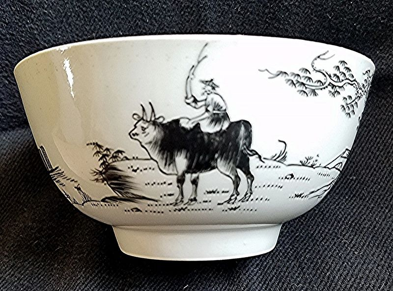 Worcester Porcelain Boy on a Buffalo Pattern Small Bowl c1755
