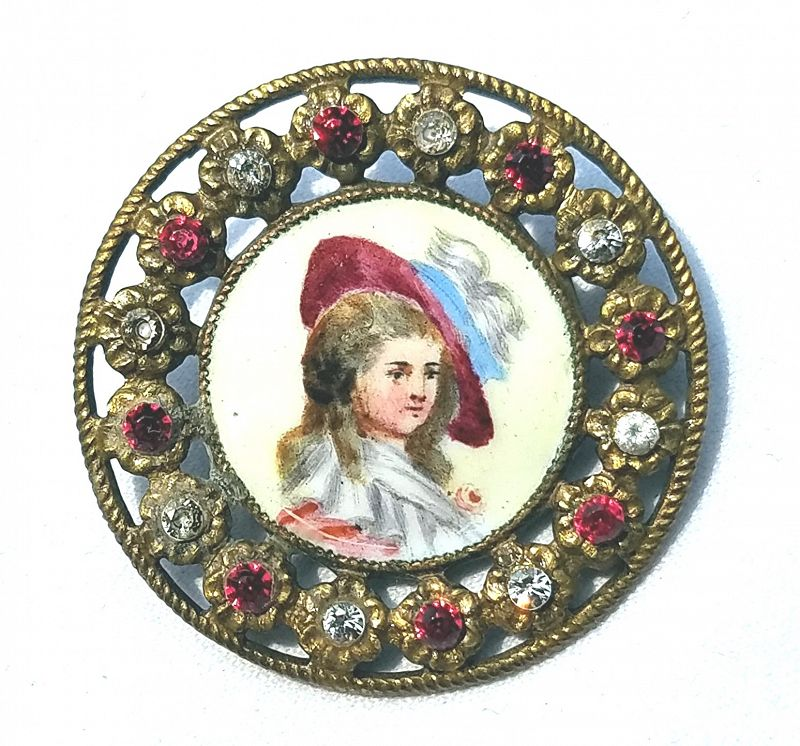 Striking Enamel and Paste Portrait Button 19th C
