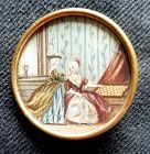 Large Painting on Fabric Button 19th C
