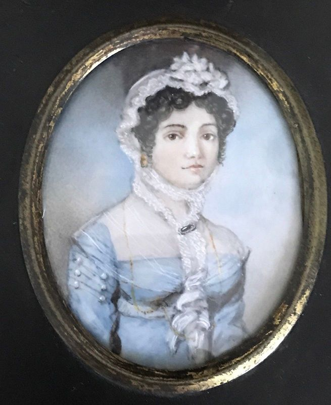 Signed R.C. Woolnough Miniature Portrait c1816