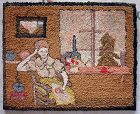 Rare Pictorial American Hooked Rug c1890