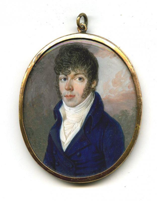 Louis Marie Autissier (Attributed) Portrait Miniature c1797