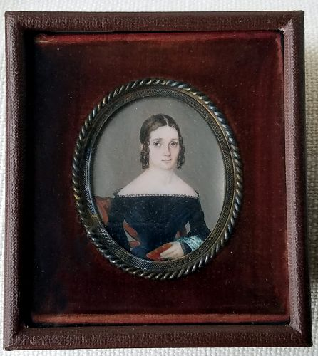 Leopold Paul Unger Portrait Miniature of a Young Woman c1839