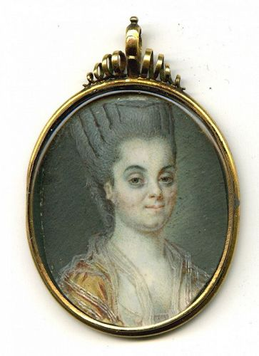 A Miniature Painting of a Stately Lady c1770