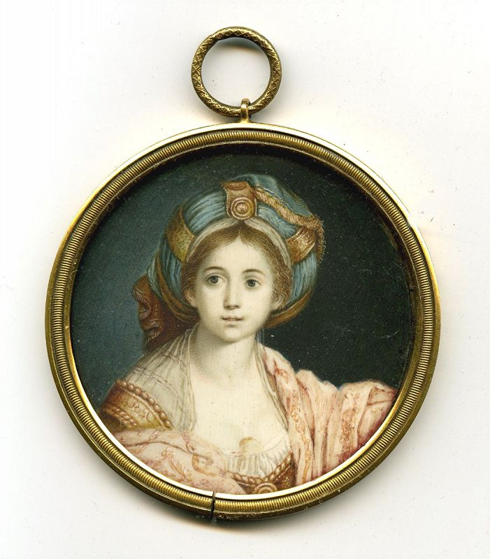A Fine Miniature Painting after Guido Reni   c1845