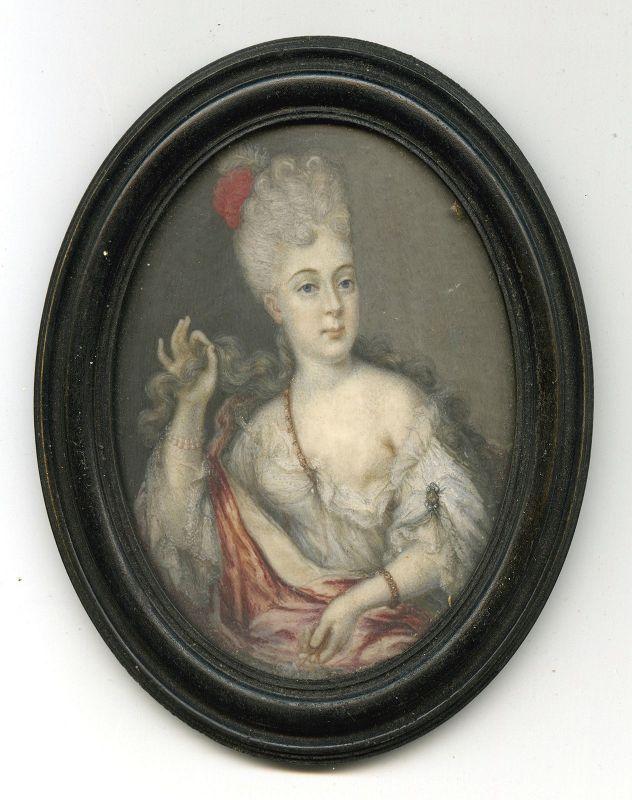 Early French Portrait Miniature of Mlle de Blois  c1695