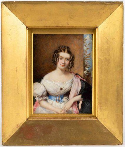 Stunning Francois-Theodore Rochard Miniature Portrait c1835