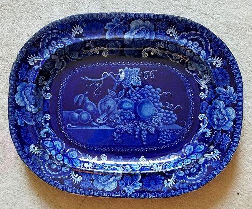 Staffordshire B/W Transferware Platter Birds and Fruit c1820
