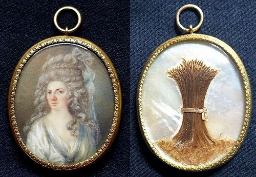 Unusual Miniature Portrait of a French Woman  c1780