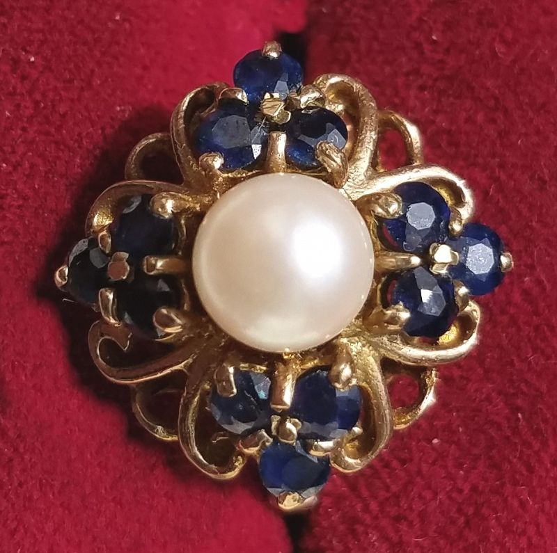 Stunning Edwardian Sapphire and Pearl Ring c1910