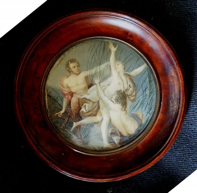 Miniature Painting Satyr and Nymphs c1845