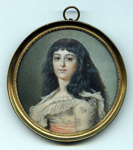 Pauline Augustin Miniature Portrait c1810