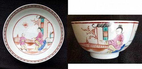 Lowestoft Mandarin Green Window Tea Bowl and Saucer c1770