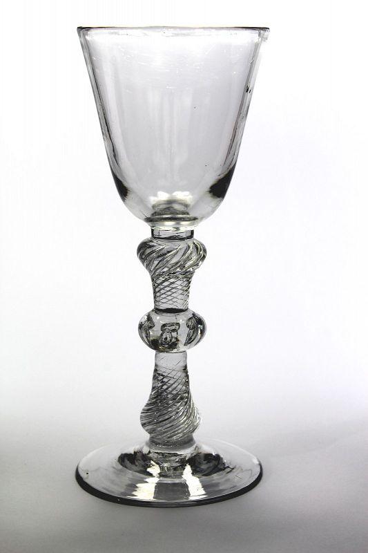 Rare Composite Stem English Antique Wine Glass c1750