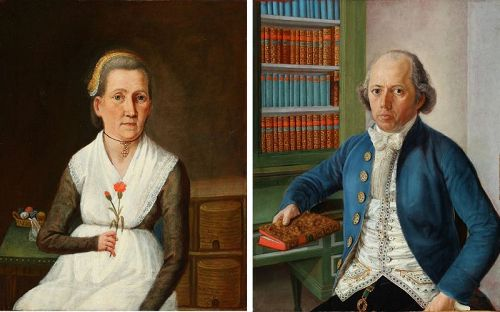 Superb Pair of American Portrait Paintings c1790