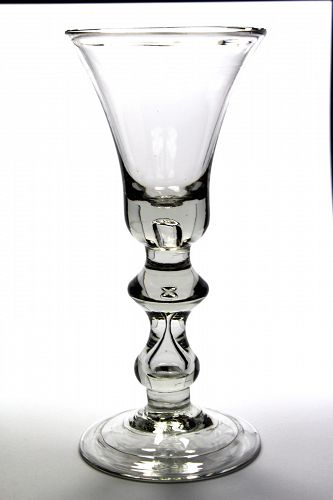 English Heavy Baluster Wine Glass c1725