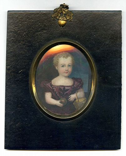 A Fine Miniature Portrait of a Child c1835