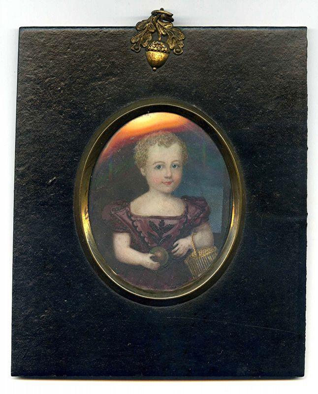 A Fine Miniature Portrait of a Child c1835
