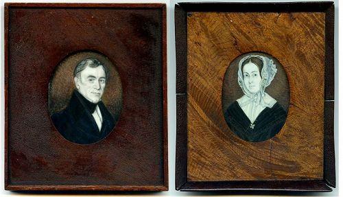 Extremely Rare Pair Lewis Fairchild Portrait Miniatures c1825