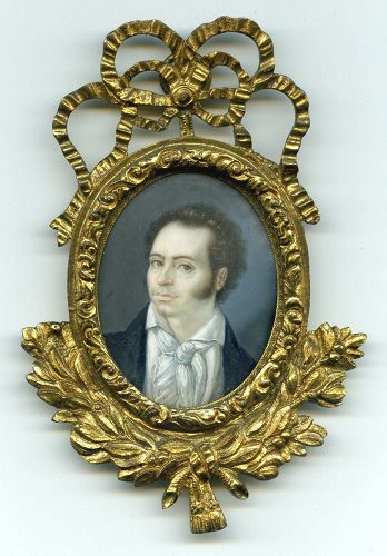 A Strong Portrait Miniature of a Young Man c1840