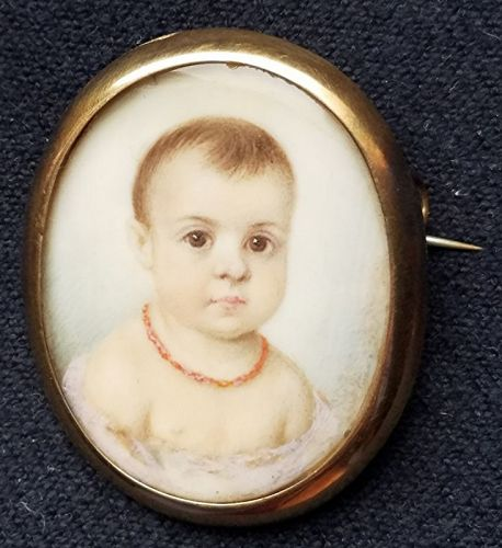A Sweet Miniature Portrait of a Young Child c1840