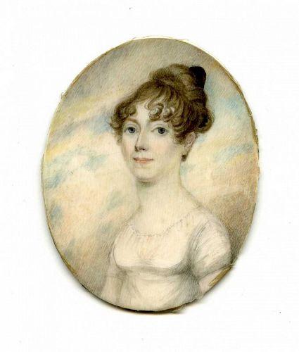 Portrait Miniature of Young Lady  c1810