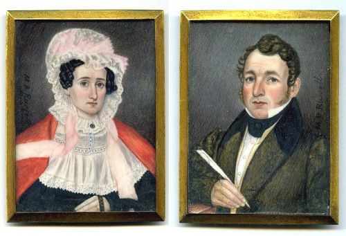 Rare Pair of Mr. and Mrs. Moses B. Russell Miniatures c1845