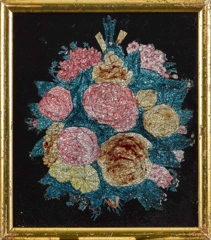 A Charming Tinsel Painting c1875