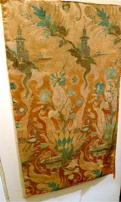 Beautiful Italian Bizarre Silk Panel c1710