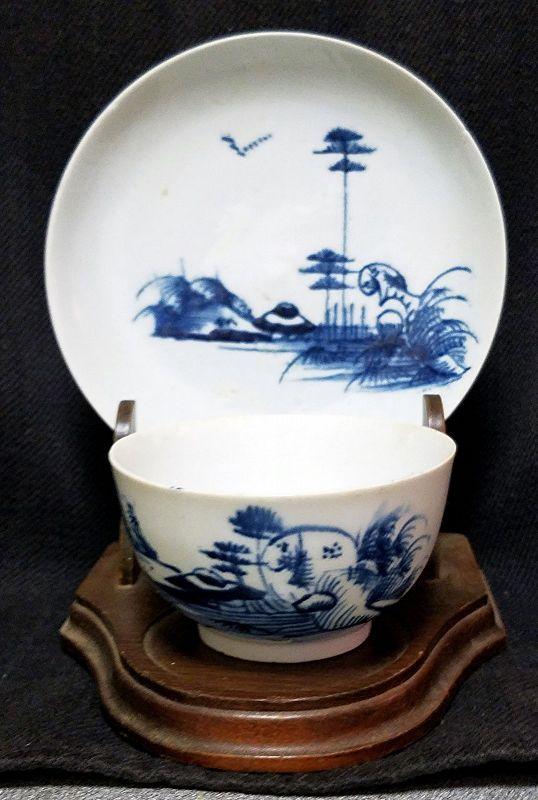 An Exceptional Longton Hall Porcelain Tea Bowl and Saucer c1758