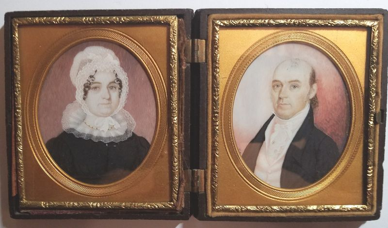 Rare Pair of  American Miniature Portrait by John S. Porter  c1824