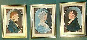 Rare Set of Pastel Family Portraits; c 1810
