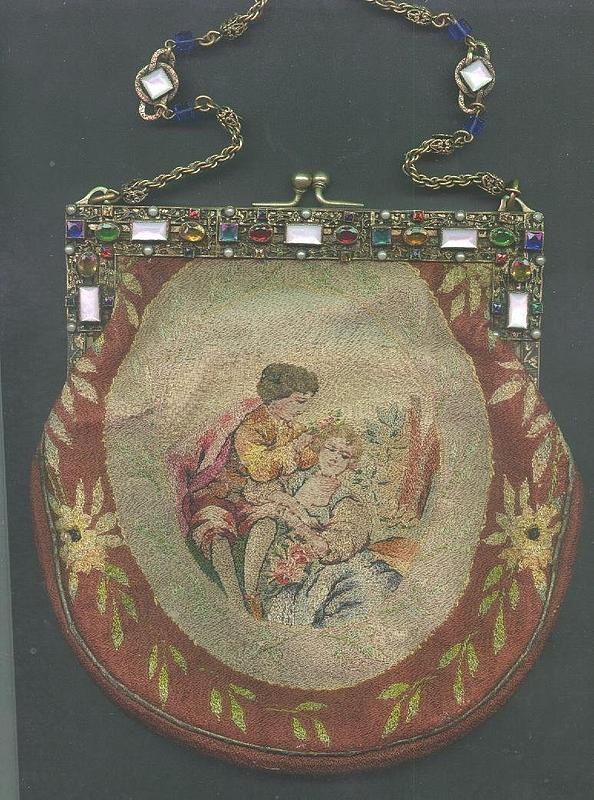 Needlework Purse with Spectacular Jeweled Frame c 1870