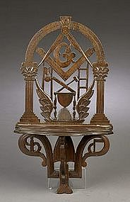 Elaborately Carved American Masonic Shelf; C 1860