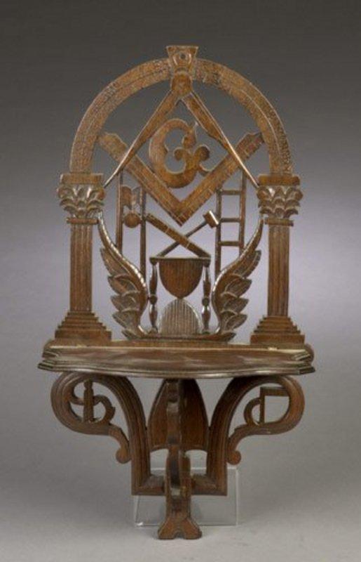 Elaborately Carved American Masonic Shelf; C 1860