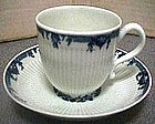 First Period Worcester B/W Coffee Cup/Saucer C 1765