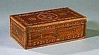 Fantastic Paint Decorated /Inlaid Document Box; c 1850